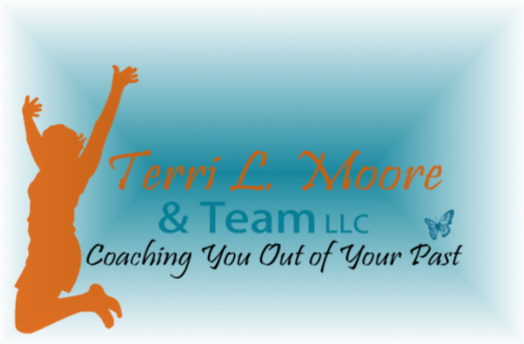 Silhouette of a woman jumping to celebrate, with the text Terri L. Moore and Team LLC: Coaching You Out of Your Past