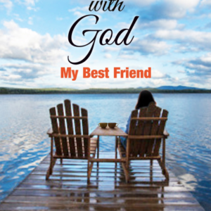 The cover of this book is a view over a water with 2 deck chairs on a dock: the left deck chair is empty. Face to Face with God, My Best Friend by Terri L. Moore.