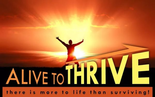 An image of a person on top of a mountain with the sun behind them and their arms up in celebration, with the text Alive to Thrive: There is more to life than surviving!